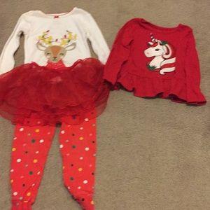 Bundle 24 month/2T Christmas Pjs and Shirt